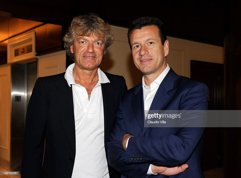 Giancarlo Antognoni and Carlos Dunga attend the Golden Foot Previews on October 10 2010 in Monaco Monaco