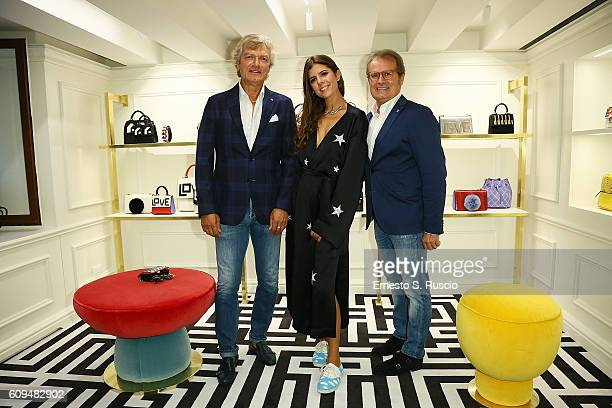Giancarlo Antognoni Mariasole Cecchi and guest attend the Les Petits Joueurs Flagship Opening on September 20 2016 in Florence Italy