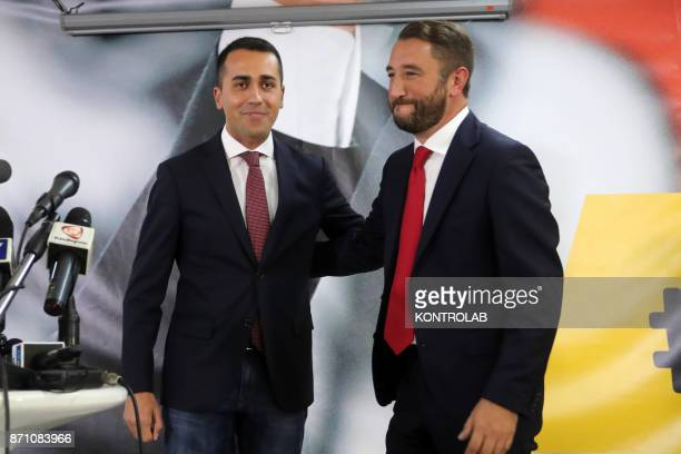 Giancarlo Cancelleri with Luigi Di Maio during the press conference after the Regional vote in Sicily