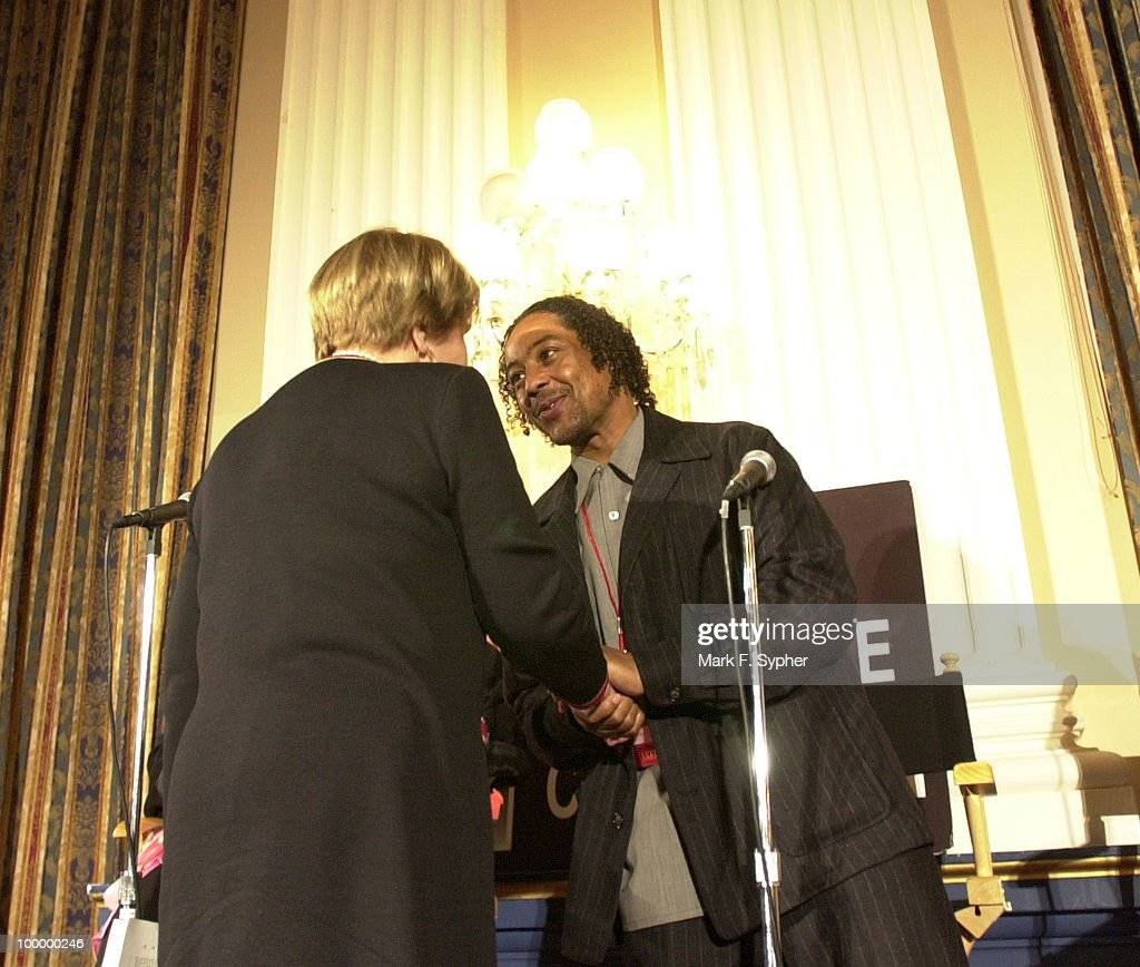 Giancarlo Esposito greets Rep. Louise M. Slaughter (D-NY) at The Creative Coalition Arts Advocacy Day Delegation on Tuesday.
