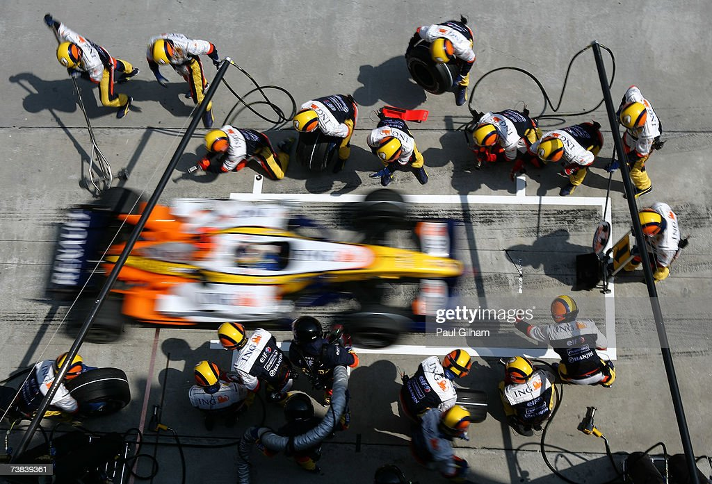 Giancarlo Fisichella of Italy and Renault stops for a pitstop during the Malaysian Formula One Grand Prix at the Sepang Circuit on April 8, 2007, in Kuala Lumpur, Malaysia.