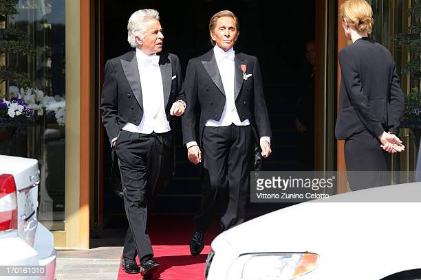 Giancarlo Giametti and Valentino Garavani depart The Grand Hotel to attend the wedding of Princess Madeleine of Sweden and Christopher O'Neill hosted...