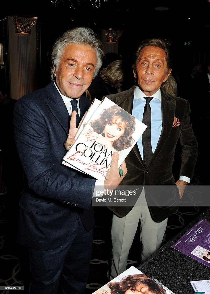 Giancarlo Giammetti (L) and <a gi-track='captionPersonalityLinkClicked' href=/galleries/search?phrase=Valentino+Garavani+-+Fashion+Designer&family=editorial&specificpeople=4297414 ng-click='$event.stopPropagation()'>Valentino Garavani</a> attend the launch of Joan Collins new book 'Passion For Life' at No.41 Mayfair Club at The Westbury Hotel on October 21, 2013 in London, England.