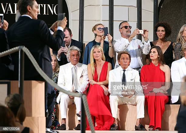 Giancarlo Giammetti Gwyneth Paltrow and Valentino Garavani attend the Valentinos 'Mirabilia Romae' haute couture collection fall/winter 2015 2016 at...