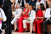 Giancarlo Giammetti Gwyneth Paltrow and Valentino Garavani attend the Valentino Mirabilia Romae Fashion show at Piazza Mignanelli on July 9 2015 in...