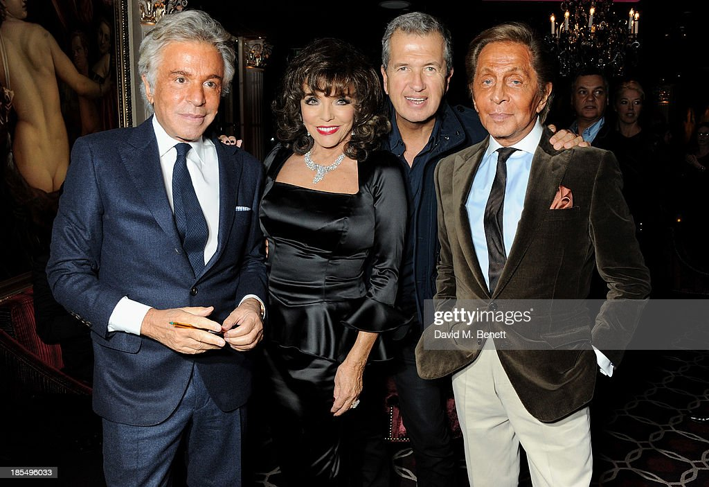 Giancarlo Giammetti, <a gi-track='captionPersonalityLinkClicked' href=/galleries/search?phrase=Joan+Collins&family=editorial&specificpeople=109065 ng-click='$event.stopPropagation()'>Joan Collins</a>, <a gi-track='captionPersonalityLinkClicked' href=/galleries/search?phrase=Mario+Testino&family=editorial&specificpeople=203087 ng-click='$event.stopPropagation()'>Mario Testino</a> and <a gi-track='captionPersonalityLinkClicked' href=/galleries/search?phrase=Valentino+Garavani+-+Fashion+Designer&family=editorial&specificpeople=4297414 ng-click='$event.stopPropagation()'>Valentino Garavani</a> attend the launch of <a gi-track='captionPersonalityLinkClicked' href=/galleries/search?phrase=Joan+Collins&family=editorial&specificpeople=109065 ng-click='$event.stopPropagation()'>Joan Collins</a> new book 'Passion For Life' at No.41 Mayfair Club at The Westbury Hotel on October 21, 2013 in London, England.