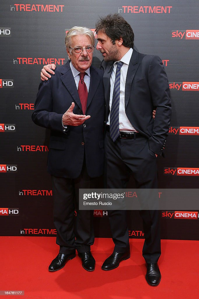 <a gi-track='captionPersonalityLinkClicked' href=/galleries/search?phrase=Giancarlo+Giannini&family=editorial&specificpeople=1683047 ng-click='$event.stopPropagation()'>Giancarlo Giannini</a> and his son Adriano Giannini attend the 'In Treatment' premiere at Teatro Capranica on March 27, 2013 in Rome, Italy.