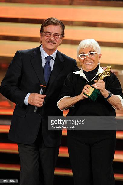 Giancarlo Giannini and Lina Wertmuller attend the 'David Di Donatello' movie awards at the Auditorium Conciliazione on May 7 2010 in Rome Italy