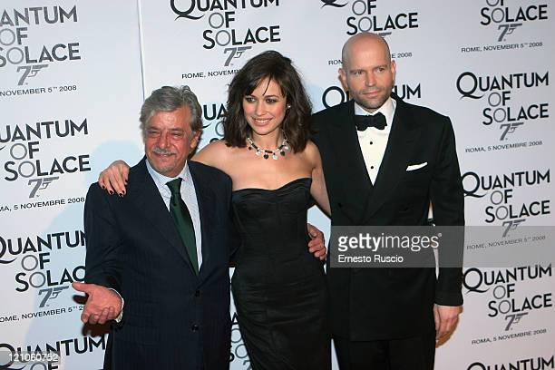 Giancarlo Giannini Olga Kurylenko and director Marc Forster attend 'Quantum Of Solace' premiere at the Warner Village Moderno cinema on November 5...