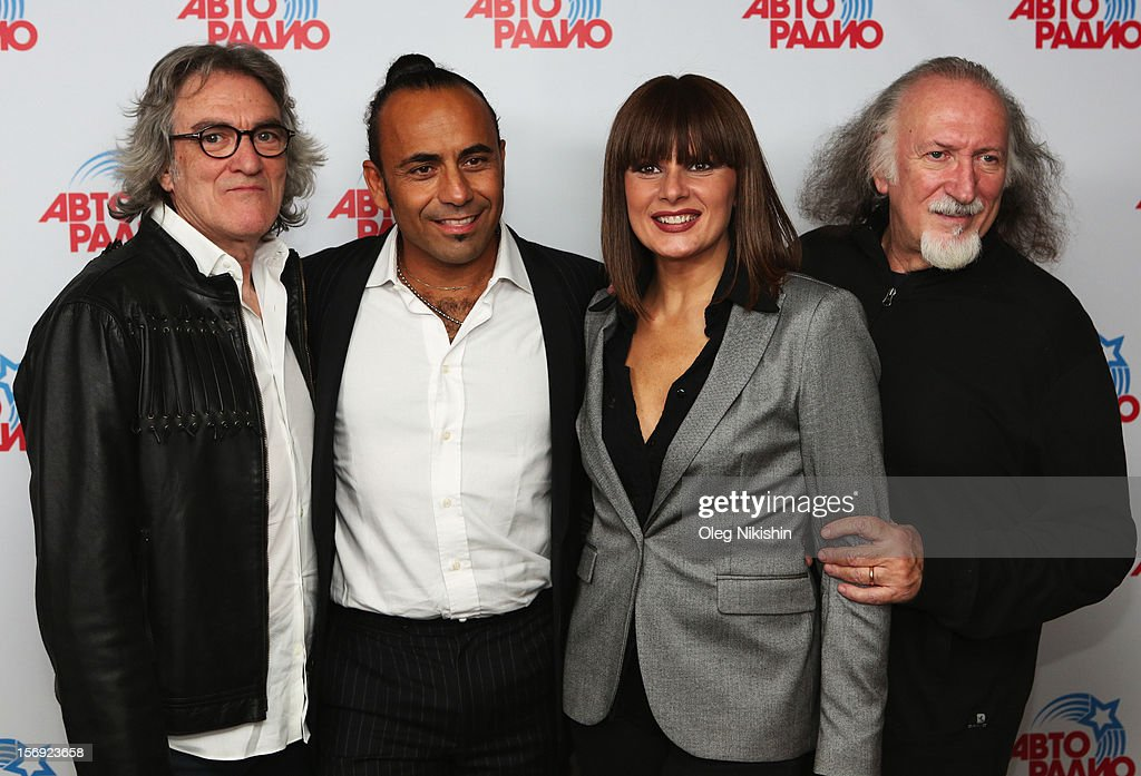 Giancarlo Golzi, Fabio Perversi, Silvia Mezzanotte, Piero Cassano from Italian musical group 'Matia Bazar' attend the 'Disco Of The 80th Rock & Dance' in Olympisky on November 24, 2012 in Moscow, Russia.