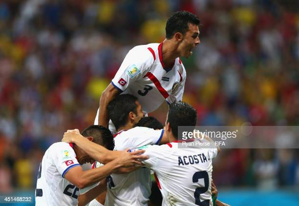Giancarlo Gonzalez of Costa Rica celebrate victory after the 2014 FIFA World Cup Brazil Round of 16 match between Costa Rica and Greece at Arena...
