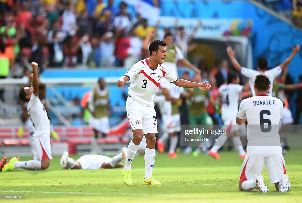 Giancarlo Gonzalez of Costa Rica celebrates after defeating Italy 1-0 during the 2014 FIFA World Cup Brazil Group D match between Italy and Costa Rica at Arena Pernambuco on June 20, 2014 in Recife, Brazil.