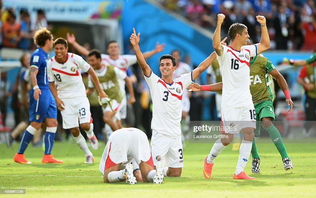 Giancarlo Gonzalez of Costa Rica celebrates with teammates after defeating Italy 1-0 on June 20, 2014 in Recife, Brazil.