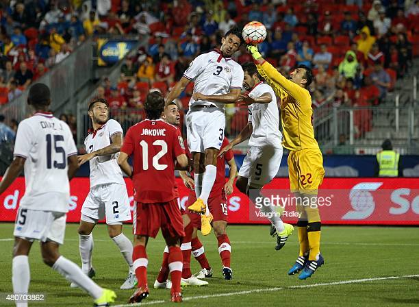 Giancarlo Gonzalez of Costa Rica header goes wide during the 2015 CONCACAF Gold Cup Group B match between Canada and Costa Rica at BMO Field on July...