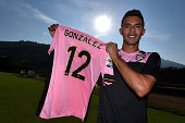 Giancarlo Gonzalez poses during his presentation as new player of US Citta di Palermo at Tenente Carmelo Onorato Sports Center on September 9 2014 in...