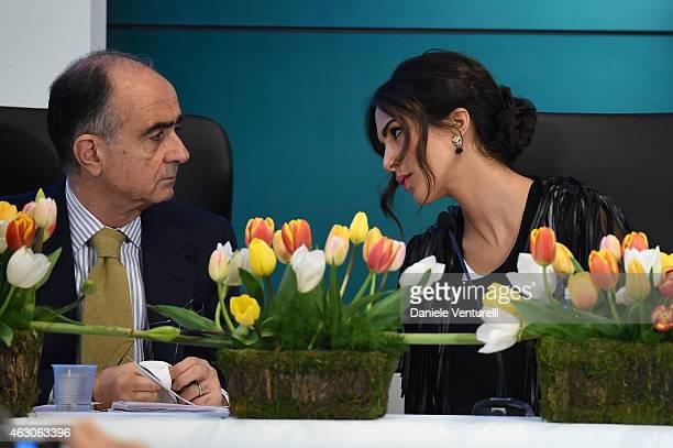 Giancarlo Leone and Rocio Munoz Morales attend the 65th Festival della canzone Italiana 2015 press conference at Teatro Ariston on February 9 2015 in...