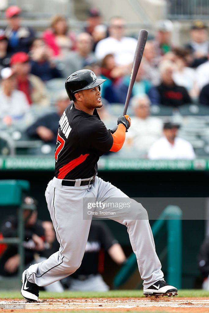 <a gi-track='captionPersonalityLinkClicked' href=/galleries/search?phrase=Giancarlo+Stanton&family=editorial&specificpeople=8983978 ng-click='$event.stopPropagation()'>Giancarlo Stanton</a> #27 of the Miami Marlins bats against the St. Louis Cardinals at the Roger Dean Stadium on February 28, 2013 in Jupiter, Florida.