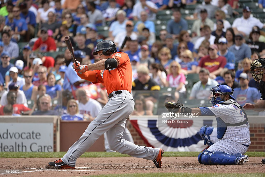 <a gi-track='captionPersonalityLinkClicked' href=/galleries/search?phrase=Giancarlo+Stanton&family=editorial&specificpeople=8983978 ng-click='$event.stopPropagation()'>Giancarlo Stanton</a> #27 of the Miami Marlins bats during the fifth inning against the Chicago Cubs at Wrigley Field on September 2, 2013 in Chicago, Illinois The Marlins defeated the Cubs 4-3.