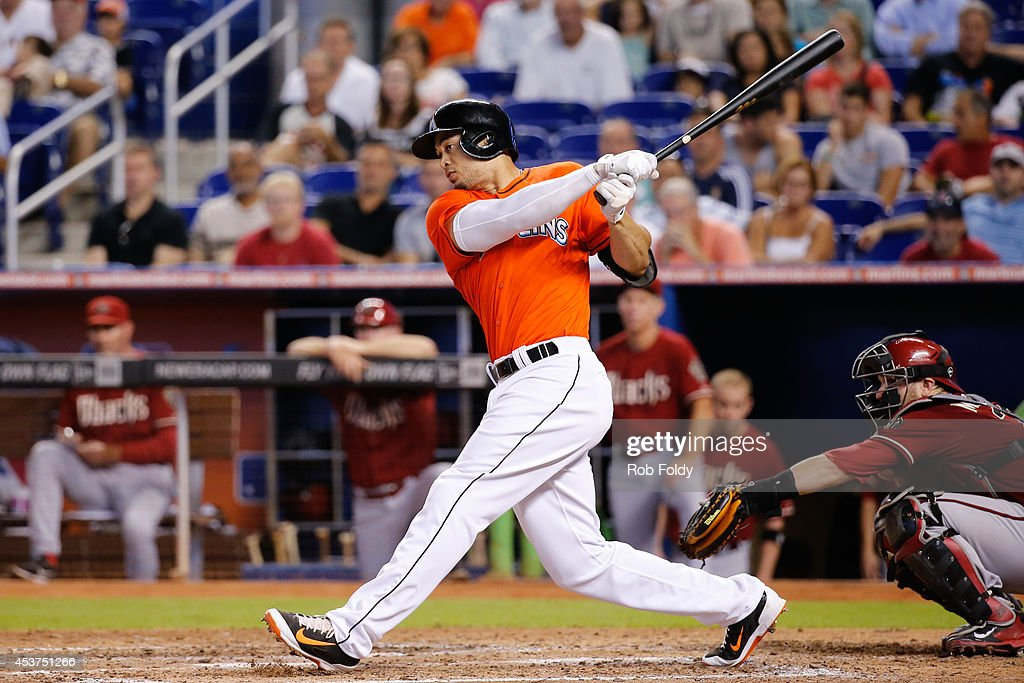 <a gi-track='captionPersonalityLinkClicked' href=/galleries/search?phrase=Giancarlo+Stanton&family=editorial&specificpeople=8983978 ng-click='$event.stopPropagation()'>Giancarlo Stanton</a> #27 of the Miami Marlins bats during the seventh inning of the game against the Arizona Diamondbacks at Marlins Park on August 17, 2014 in Miami, Florida.