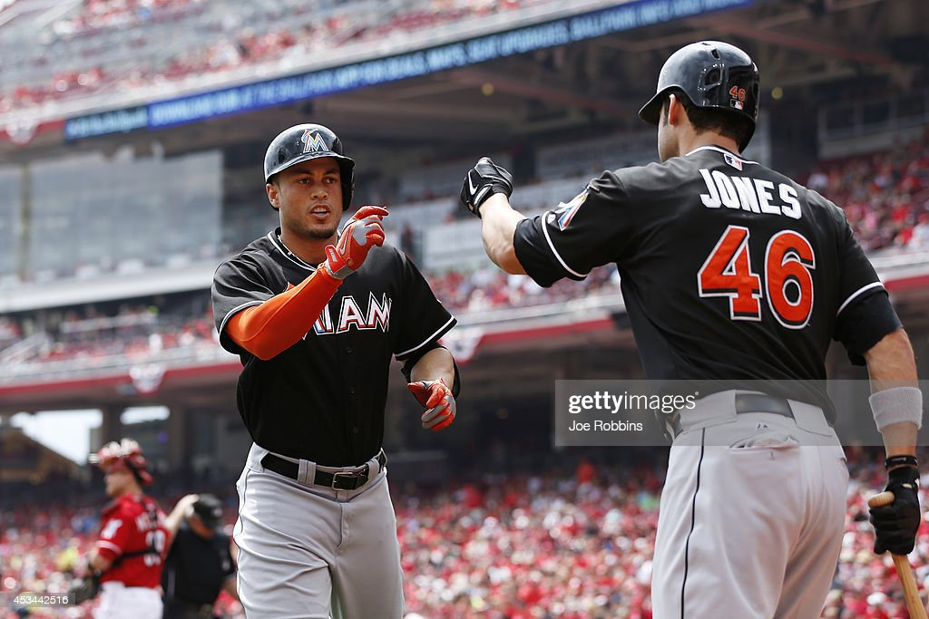 <a gi-track='captionPersonalityLinkClicked' href=/galleries/search?phrase=Giancarlo+Stanton&family=editorial&specificpeople=8983978 ng-click='$event.stopPropagation()'>Giancarlo Stanton</a> #27 of the Miami Marlins celebrates with teammate <a gi-track='captionPersonalityLinkClicked' href=/galleries/search?phrase=Garrett+Jones&family=editorial&specificpeople=835861 ng-click='$event.stopPropagation()'>Garrett Jones</a> #46 after hitting a home run in the first inning of the game against the Cincinnati Reds at Great American Ball Park on August 10, 2014 in Cincinnati, Ohio.