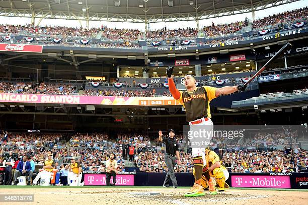Giancarlo Stanton of the Miami Marlins competes during the TMobile Home Run Derby at PETCO Park on July 11 2016 in San Diego California
