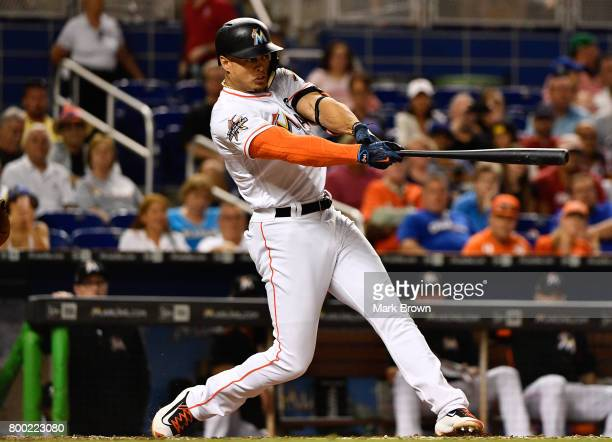 Giancarlo Stanton of the Miami Marlins during the game between the Miami Marlins and the Chicago Cubs at Marlins Park on June 23 2017 in Miami Florida