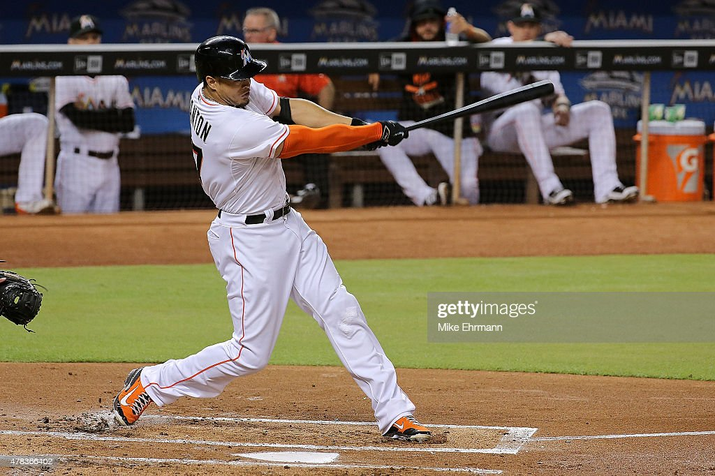 <a gi-track='captionPersonalityLinkClicked' href=/galleries/search?phrase=Giancarlo+Stanton&family=editorial&specificpeople=8983978 ng-click='$event.stopPropagation()'>Giancarlo Stanton</a> #27 of the Miami Marlins hits a solo home run during a game against the St. Louis Cardinals at Marlins Park on June 24, 2015 in Miami, Florida.