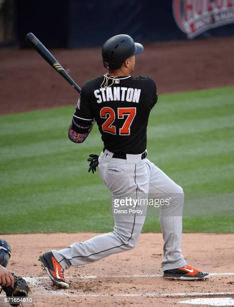 Giancarlo Stanton of the Miami Marlins hits solo home run during the second inning of a baseball game against the San Diego Padres at PETCO Park on...