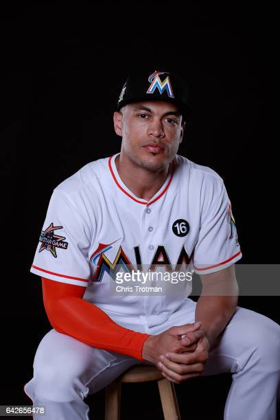 Giancarlo Stanton of the Miami Marlins poses for a photograph at Spring Training photo day at Roger Dean Stadium on February 18 2017 in Jupiter...