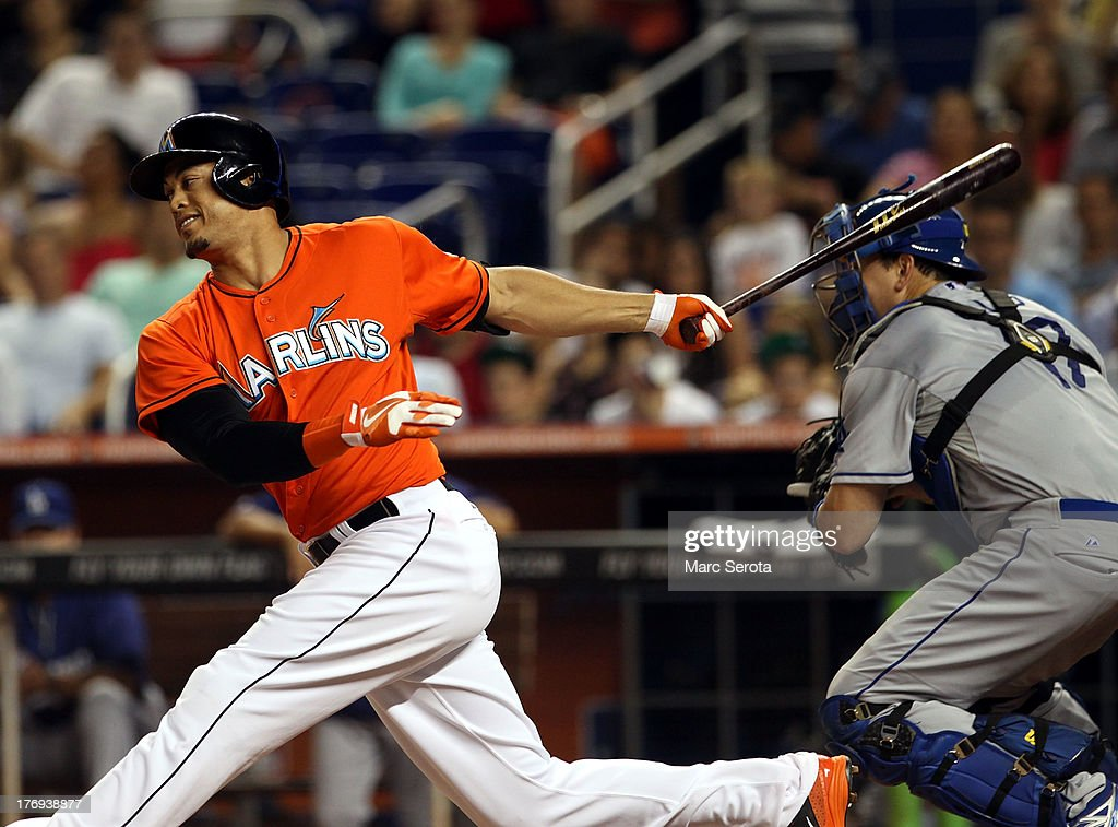 <a gi-track='captionPersonalityLinkClicked' href=/galleries/search?phrase=Giancarlo+Stanton&family=editorial&specificpeople=8983978 ng-click='$event.stopPropagation()'>Giancarlo Stanton</a> #27 of the Miami Marlins strikes out against the Loos Angeles Dodgers at Marlins Park on August 19, 2013 in Miami, Florida.