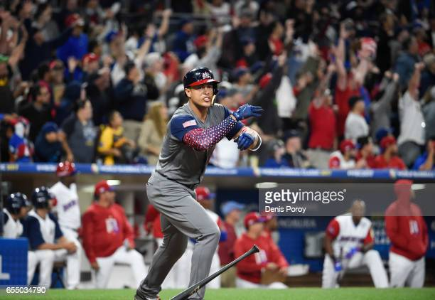 Giancarlo Stanton of the United States celebrates after hitting a two run home run during the fourth inning of the World Baseball Classic Pool F Game...