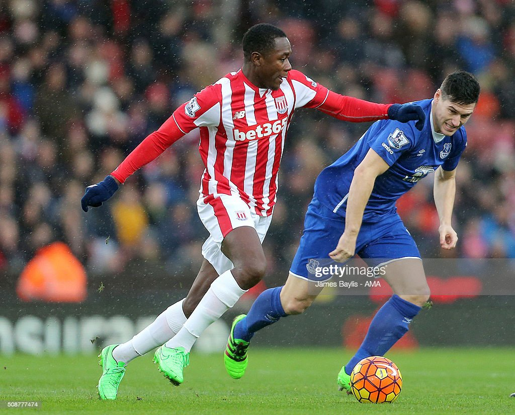 Gianelli Imbula of Stoke City and Gareth Barry of Everton during the Barclays Premier League match between Stoke City and Everton at the Britannia Stadium on February 06, 2016 in Stoke-on-Trent, England.