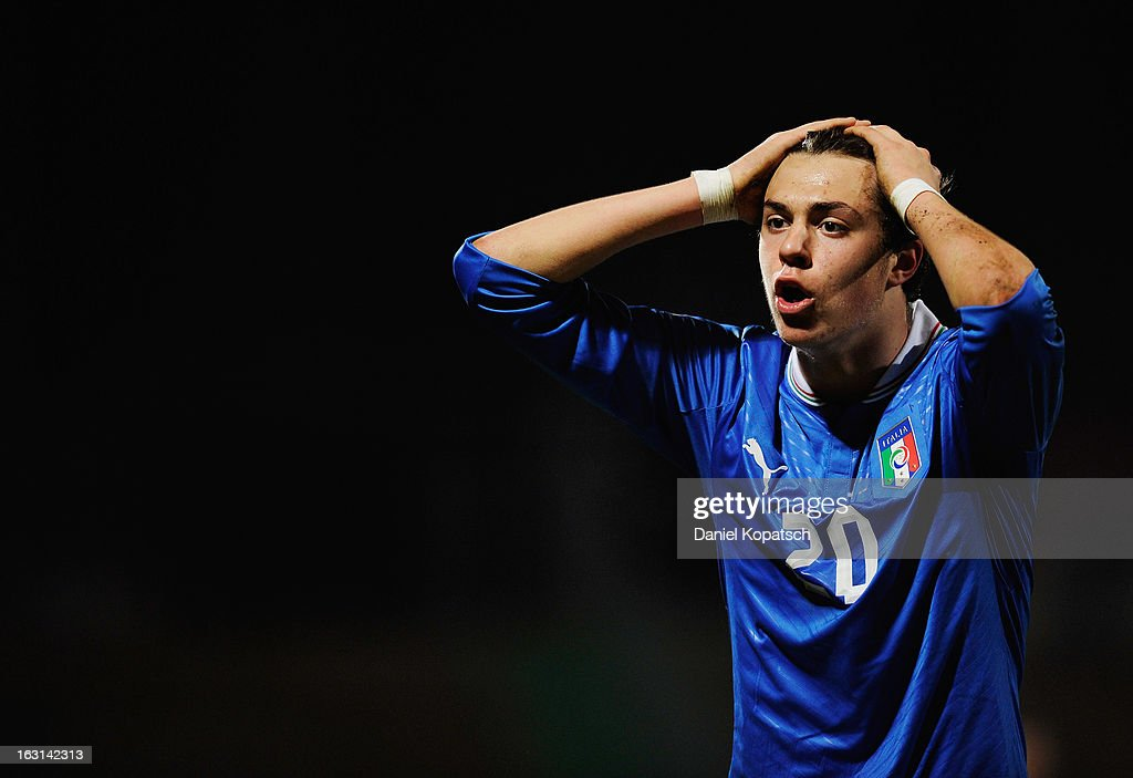 Gianfilippo Felicioli of Italy reacts during the U16 international friendly match between Germany and Italy on March 5, 2013 at Waldstadion in Homburg, Germany.