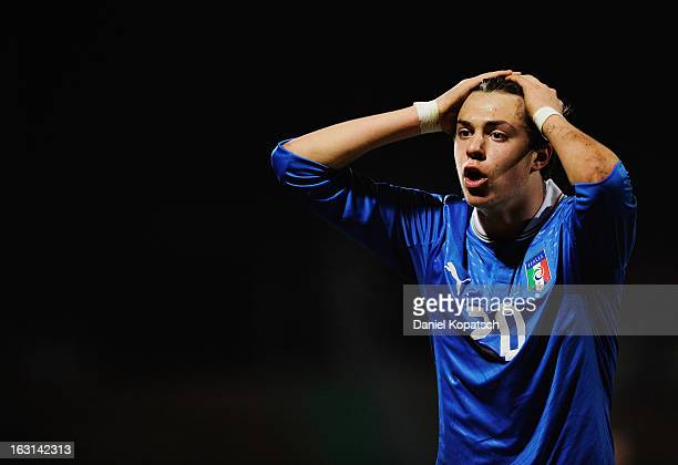 Gianfilippo Felicioli of Italy reacts during the U16 international friendly match between Germany and Italy on March 5 2013 at Waldstadion in Homburg...