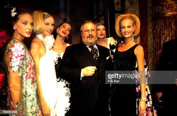 Gianfranco Ferre and Models Wearing Gianfranco Ferre's Christian Dior High fashion january 1996 Collection Christele Saint Louis Model Carla Bruni...