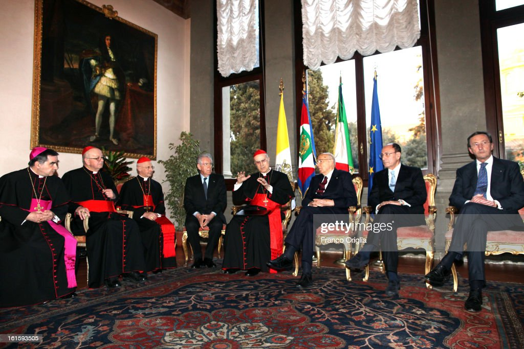<a gi-track='captionPersonalityLinkClicked' href=/galleries/search?phrase=Gianfranco+Fini&family=editorial&specificpeople=228973 ng-click='$event.stopPropagation()'>Gianfranco Fini</a>, President of Senate <a gi-track='captionPersonalityLinkClicked' href=/galleries/search?phrase=Renato+Schifani&family=editorial&specificpeople=4851265 ng-click='$event.stopPropagation()'>Renato Schifani</a>, Italy President <a gi-track='captionPersonalityLinkClicked' href=/galleries/search?phrase=Giorgio+Napolitano&family=editorial&specificpeople=568986 ng-click='$event.stopPropagation()'>Giorgio Napolitano</a>, Vatican secretary of State cardinal <a gi-track='captionPersonalityLinkClicked' href=/galleries/search?phrase=Tarcisio+Bertone&family=editorial&specificpeople=549351 ng-click='$event.stopPropagation()'>Tarcisio Bertone</a>, prime minister <a gi-track='captionPersonalityLinkClicked' href=/galleries/search?phrase=Mario+Monti&family=editorial&specificpeople=632091 ng-click='$event.stopPropagation()'>Mario Monti</a>, cardinal <a gi-track='captionPersonalityLinkClicked' href=/galleries/search?phrase=Angelo+Bagnasco&family=editorial&specificpeople=576491 ng-click='$event.stopPropagation()'>Angelo Bagnasco</a>, cardinal Attilio Nicora and monsignor Angelo Becciu attend the celebration of the 84th anniversary of The Lateran Pacts at Palazzo Borromeo on February 12, 2013 in Rome, Italy. Lateran Pacts of 1929 or Lateran Accords, agreements made in 1929 between the Kingdom of Italy and the Holy See, were signed on February 11, 1929, and ratified by the Italian parliament on June 7, 1929, settling the 'Roman Question'.
