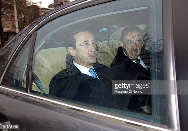 Gianfranco Fini President of the Italian Chamber of Deputies and Ignazio La Russa Minister of Defence arrive at the San Raffaele Hospital on December...