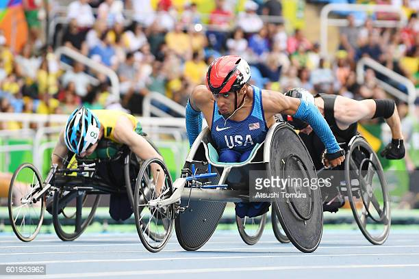 Gianfranco Iannotta of the USA competes in the men's 100m T52 final on day 3 of the Rio 2016 Paralympic Games at the Olympic stadium on September 10...