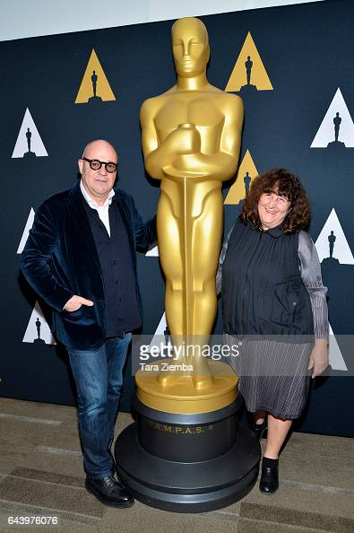 Gianfranco Rosi and Donatella Palermo attend the 89th Annual Academy Awards Oscar week reception for nominated films in the Documentary category at...