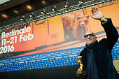 Gianfranco Rosi winner of the golden bear attends the award winners press conference of the 66th Berlinale International Film Festival on February 20...