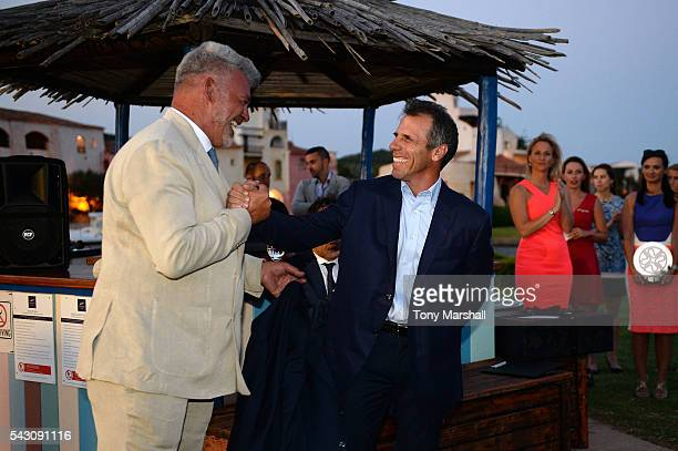 Gianfranco Zola and Darren Clarke attend the Gala Dinner during The Costa Smeralda Invitational golf tournament at Pevero Golf Club Costa Smeralda on...