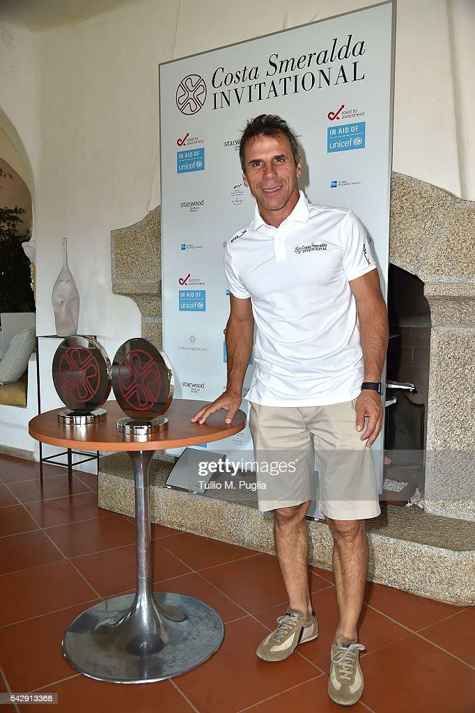 Gianfranco Zola arrives at The Costa Smeralda Invitational golf tournament at Pevero Golf Club - Costa Smeralda on June 25, 2016 in Olbia, Italy.
