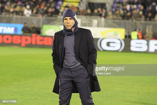 Gianfranco Zola coach of Cagliar looks on during the Serie A match between Cagliari Calcio and FC Internazionale Milano at Stadio Sant'Elia on...