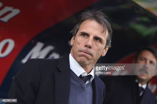 Gianfranco Zola coach of Cagliari look on during the Serie A match between Cagliari Calcio and AS Roma at Stadio Sant'Elia on February 8 2015 in...
