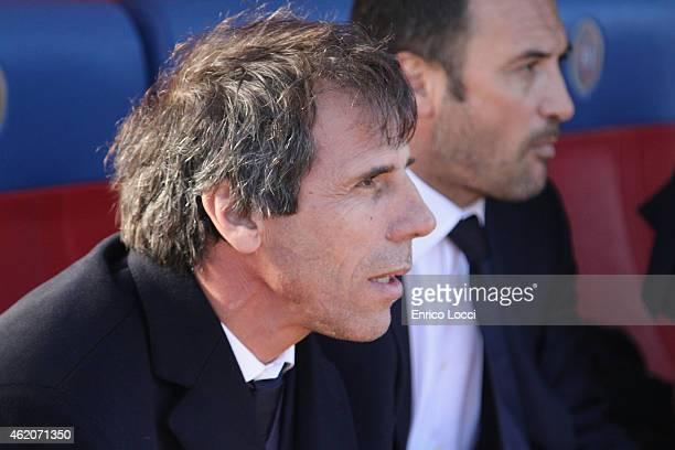 Gianfranco Zola head coach of Cagliari look on during the Serie A match between Cagliari Calcio and US Sassuolo Calcio at Stadio Sant'Elia on January...