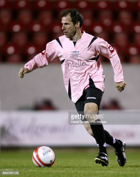 Gianfranco Zola in action during the Christian Roberts Testimonial at the County Ground in Swindon