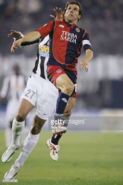 Gianfranco Zola in action during the Serie A match between Cagliari and Juventus at Stadio San Elia January 16 in Cagliari Italy