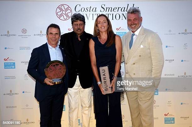 Gianfranco Zola Kapil Dev Sandrine Testud and Kapil Dev attend the Gala Dinner during The Costa Smeralda Invitational golf tournament at Pevero Golf...