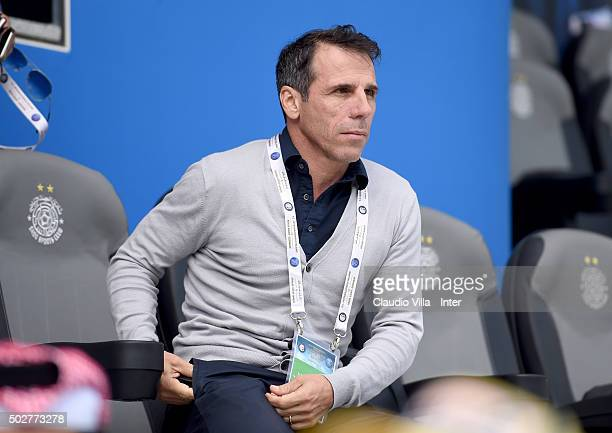 Gianfranco Zola looks on during the FC Internazionale training session at Al Sadd Stadium on December 29 2015 in Doha Qatar