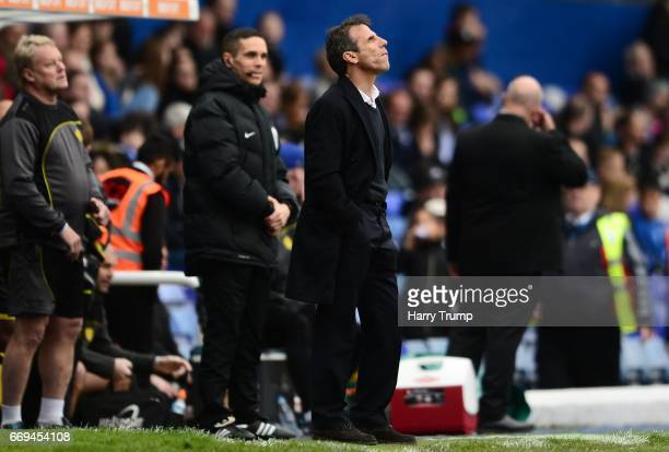 Gianfranco Zola Manager of Birmingham City during the Sky Bet Championship match between Birmingham City and Burton Albion at St Andrews on April 17...